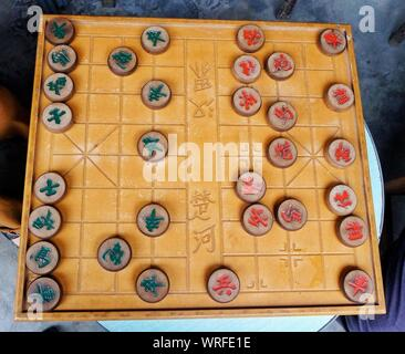 High Angle View Of Chinese Chess - Stock Photo
