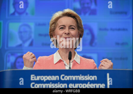 Brussels, Belgium. 10th Sep, 2019. Ursula Von Der Leyen, president-elect of the European Commission, speaks at a press conference on the unveiling of the line-up of the next European Commission in Brussels, Belgium, Sept. 10, 2019. Credit: Riccardo Pareggiani/Xinhua Credit: Xinhua/Alamy Live News - Stock Photo
