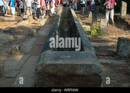 Rice container for monks at Mihintale, Sri Lanka, Asia - Stock Photo