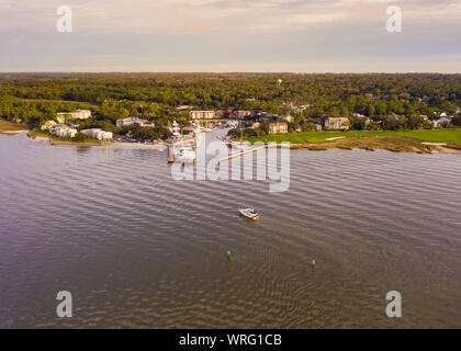 Aerial view of Hilton Head, South Carolina and Harbour Town. - Stock Photo