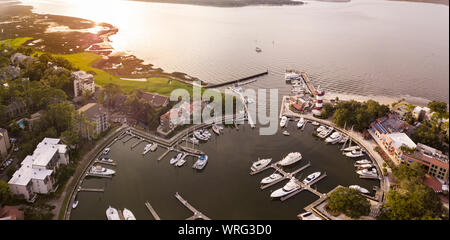 Aerial view of Harbour Town, Hilton Head, South Carolina, lighthouse and marina. - Stock Photo