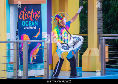 Orlando, Florida. August 31, 2019. Mime DJ and Electric Ocean sign at Seaworld - Stock Photo