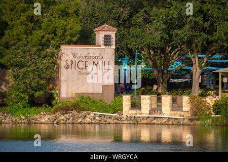 Orlando, Florida. August 31, 2019. Spice Mills restaurant sign at Seaworld - Stock Photo