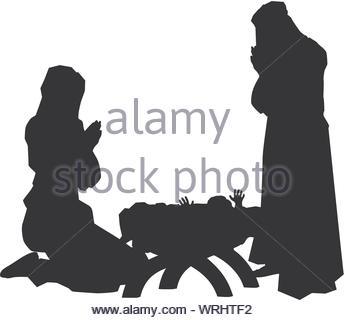 Nativity Scene Silhouettes - Stock Photo