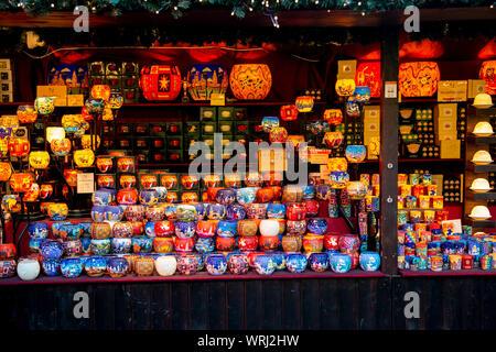 Colourful lanterns on display in the European Christmas Market in the Mound Precinct, Edinburgh, Scotland - Stock Photo