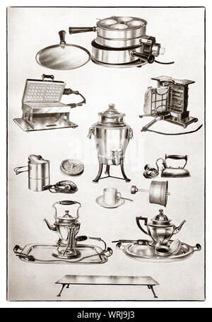 The latest kichenware displayed at the beginning of the 1930s in Mrs Beeton's 'All About Cookery' 1930 Edition. The featured items, all electric table apparatus include a griller; waffle iron; toaster; liquid heater; coffee percolator; iron; kettle; tea pot (with infuser) and a hot plate. - Stock Photo