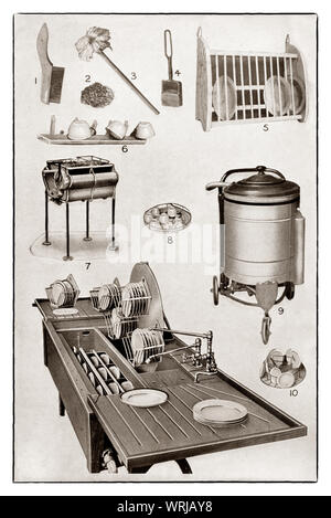 The latest kichenware displayed at the beginning of the 1930s in Mrs Beeton's 'All About Cookery' 1930 Edition. The featured items, all crockery washers,  include 1. wire saucepan brush; 2. pan scourer: 3. dish mop; 4. soap basket;  5. plate rack; 6. Cup Rack; 7. hand operated crockery washer;  9. Electrically operated crockery washer and interior fittings - 8 & 10;  11. electrically controlled water flow crockery washer. - Stock Photo
