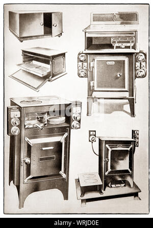 The latest kichenware displayed at the beginning of the 1930s in Mrs Beeton's 'All About Cookery' 1930 Edition. The featured electrically operated items include a hot cupboard; electric griller; electric cooker; small oven; hot plates. - Stock Photo