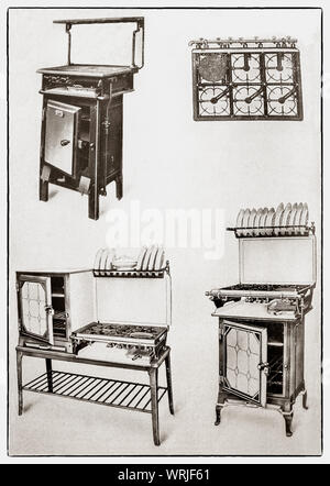 The latest kichenware displayed at the beginning of the 1930s in Mrs Beeton's 'All About Cookery' 1930 Edition. The featured gas operated items include a gas stove and oven, hot plates and grill; a gas cooker and oven that eliminates stooping and an enamel coated gas stove and oven - Stock Photo
