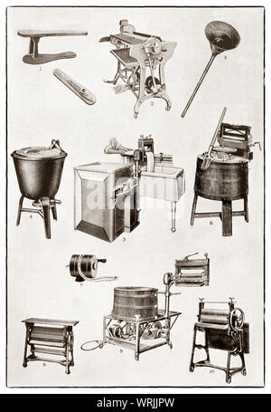 The latest kichenware displayed at the beginning of the 1930s in Mrs Beeton's 'All About Cookery' 1930 Edition. The featured mechanical laundering items include  1. ironing sleeve; 2. electric ironing machine; 3. vacuum clothes washer; 4. gas heated copper; 5. electric washing machine; 6. hand operated washing machine; 7. clothes line protector; 8&10. table mangle; 9. Electric washer and wringer - Stock Photo