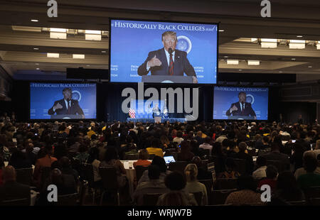 Washington DC, USA . 10th Sep, 2019. President Donald Trump delivers remarks at the 2019 National Historically Black Colleges and Universities Week Conference, in Washington, DC on Tuesday, September 10, 2019. Photo by Kevin Dietsch/UPI Credit: UPI/Alamy Live News - Stock Photo