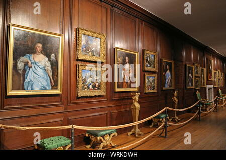 'Windsor Beauties' and 'The Story of Cupid and Psyche', Communication Gallery, Hampton Court Palace, East Molesey, Surrey, England, UK, Europe - Stock Photo