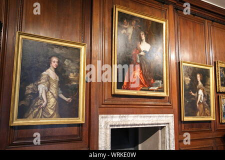'Windsor Beauties' by Sir Peter Lely, Communication Gallery, Hampton Court Palace, East Molesey, Surrey, England, Great Britain, UK, Europe - Stock Photo
