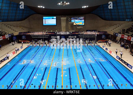London, UK. 10th Sep, 2019. A general view of the Men's 100m Backstroke S13 Final. World Para Swimming Allianz Championships 2019, day 2 at the London Aquatics Centre in London, UK on Tuesday 10th September 2019. this image may only be used for Editorial purposes. Editorial use only, pic by Steffan Bowen/Andrew Orchard sports photography/Alamy Live news Credit: Andrew Orchard sports photography/Alamy Live News - Stock Photo