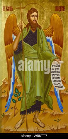 The icon of Saint John the Forerunner (the Baptist, 'Angel of the Desert'). Part of the Iconostasis in the Greek Catholic church of Saint Elijah. - Stock Photo