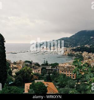 High Angle View Of Santa Margherita Ligure Against Cloudy Sky - Stock Photo