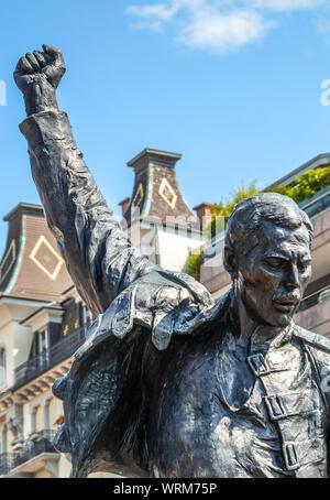 Montreux, Switzerland - July 26, 2019: Famous statue of Freddie Mercury, singer of the famous band Queen. Farrokh Bulsara, born in Zanzibar, Tanzania. The sculpture is a popular tourist landmark. - Stock Photo