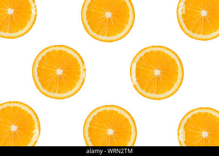 Colorful fruit pattern of fresh orange or lemon slices on white isolated background. Top view. - Stock Photo