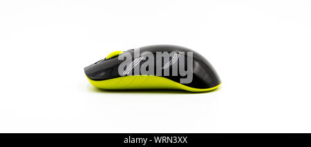 Close-up Of Black Computer Mouse On White Background - Stock Photo