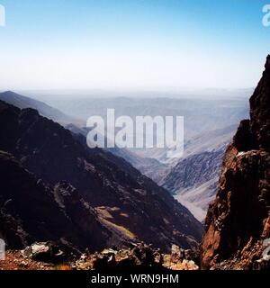 High Angle View Of Atlas Mountains Against Clear Sky - Stock Photo