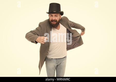 Time traveller. Master of cunning tricks. Street performance. Man bearded guy magician. Magic trick performance concept. Circus magic trick performance. Entertainment and theatre. Magic show. - Stock Photo