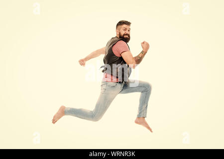 Last chance. Following his dream. Barefoot guy hurries to beach. Run away. Hurry up. Guy happy cheerful face having fun run jumping. Life in motion. Man bearded guy run away. Always in motion. - Stock Photo