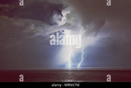 Lightning Storm Over Sea - Stock Photo