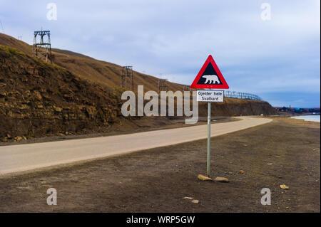 Polar bear warning sign, Longyearbyen, Svalbard, Norway - Stock Photo