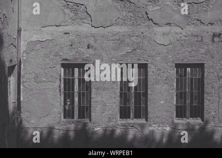 View Of Weathered Old Brick Wall - Stock Photo