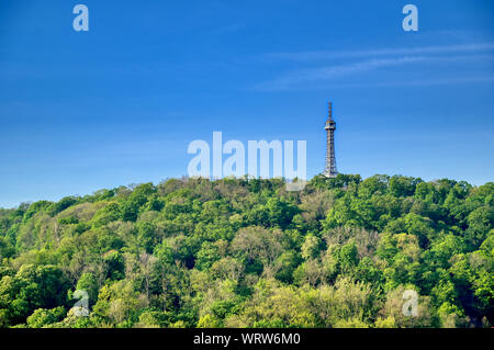 The Petrin Lookout Tower on Petrin Hill in Prague, Czech Republic. - Stock Photo
