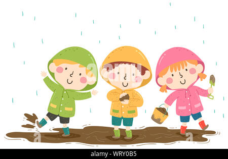 Illustration of Kids Wearing Raincoat and Boots Playing in the Mud - Stock Photo