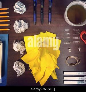 Directly Above Shot Of Office Supplies On Table - Stock Photo