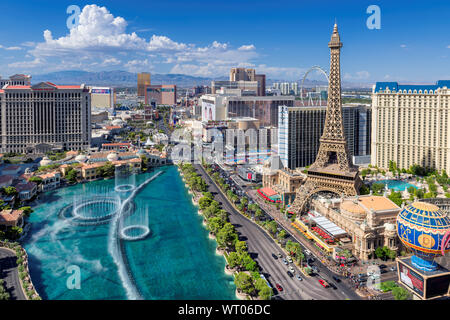 Las Vegas strip skyline as seen at sunny day, Nevada - Stock Photo