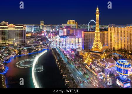 Aerial view of Las Vegas strip in Nevada as seen at night