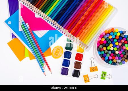 School items and student accessories. Studio Photo. - Stock Photo