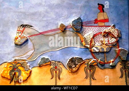 mosaic, fresco, ancient, Greece, Minoic, Mycenaean - Stock Photo