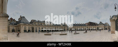 Dijon, Burgundy / France - 27 August 2019: panorama view of the Place de La Liberacion Square in the heart of the old town of Dijon - Stock Photo