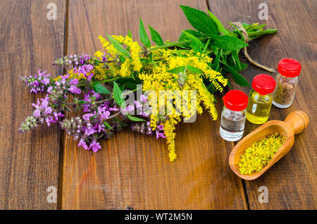 Pharmaceutical tincture, extract of wild herbs, medicinal flowers in medical bottles. Studio Photo - Stock Photo