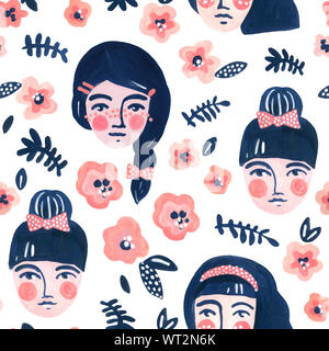 Cute cartoon girl faces seamless pattern. Watercolor portraits of women on floral background. Woman abstract face with flowers wallpaper. Hand painted - Stock Photo