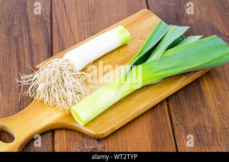 Stalk of leek chopped into pieces. Studio Photo - Stock Photo