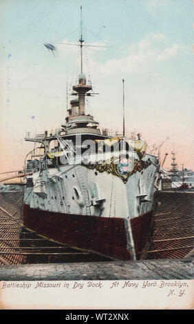 Vintage post card of the United States Navy battleship Missouri in dry dock at Navy yard Brooklyn New York ca 1910 - Stock Photo