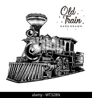 old train hand drawn, vintage logo rustic style - Stock Photo