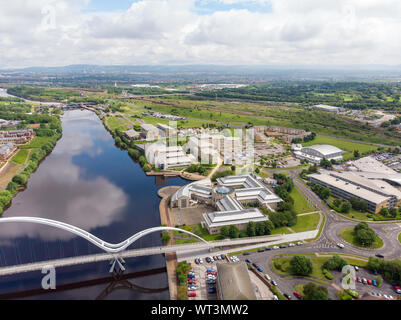 Areal photo of the Durham University, Queen's Campus in Thornaby, Stockton-on-xd taken on a beautiful sunny day near to the Infinity Bridge