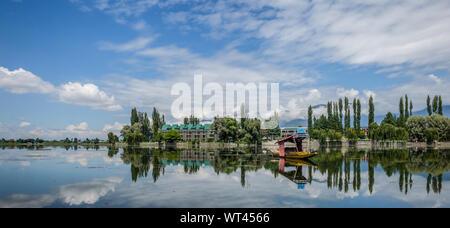 A landscape view of Dal Lake in Srinagar. - Stock Photo