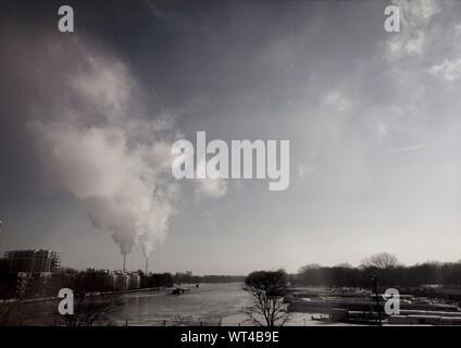 Smoke Emitting From Factory - Stock Photo
