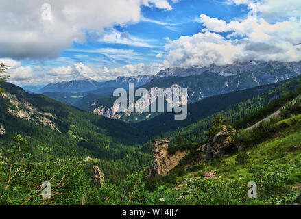 The so-called 'valley of the giants' in the Wetterstein massif between the Alpspitze and the Kreuzeck in the German Alps, with karstified limestone fo - Stock Photo