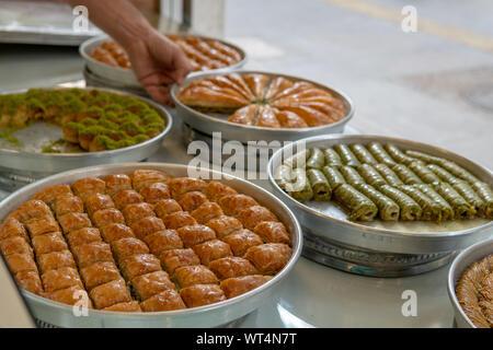 World famous baklava in Gaziantep southeast turkey - Stock Photo