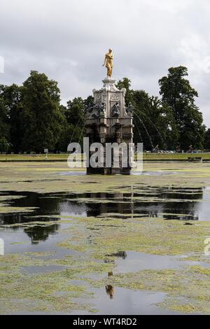 Reflection of Diana fountain in Bushy Park, London - Stock Photo
