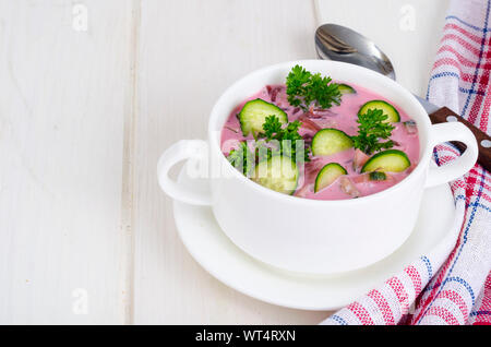 Cold beet soup with cucumbers. Studio Photo - Stock Photo