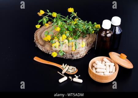 Herbal capsules and tinctures from medicinal plants. Studio Photo - Stock Photo